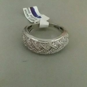 Rhodium plated Sterling silver .10ctw Dia ring